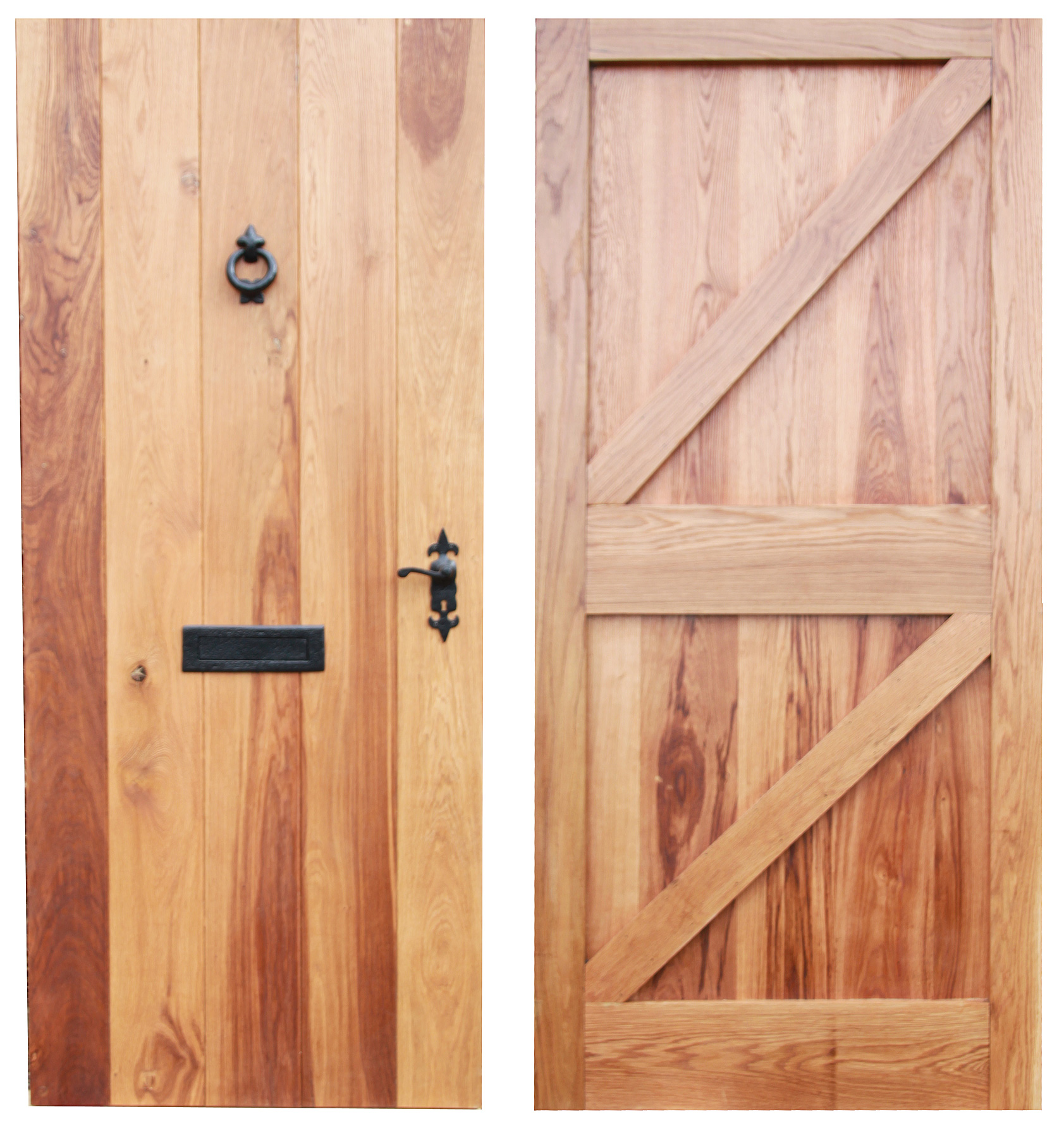 External Brace & Ledger Farmhouse Door Solid Oak Large