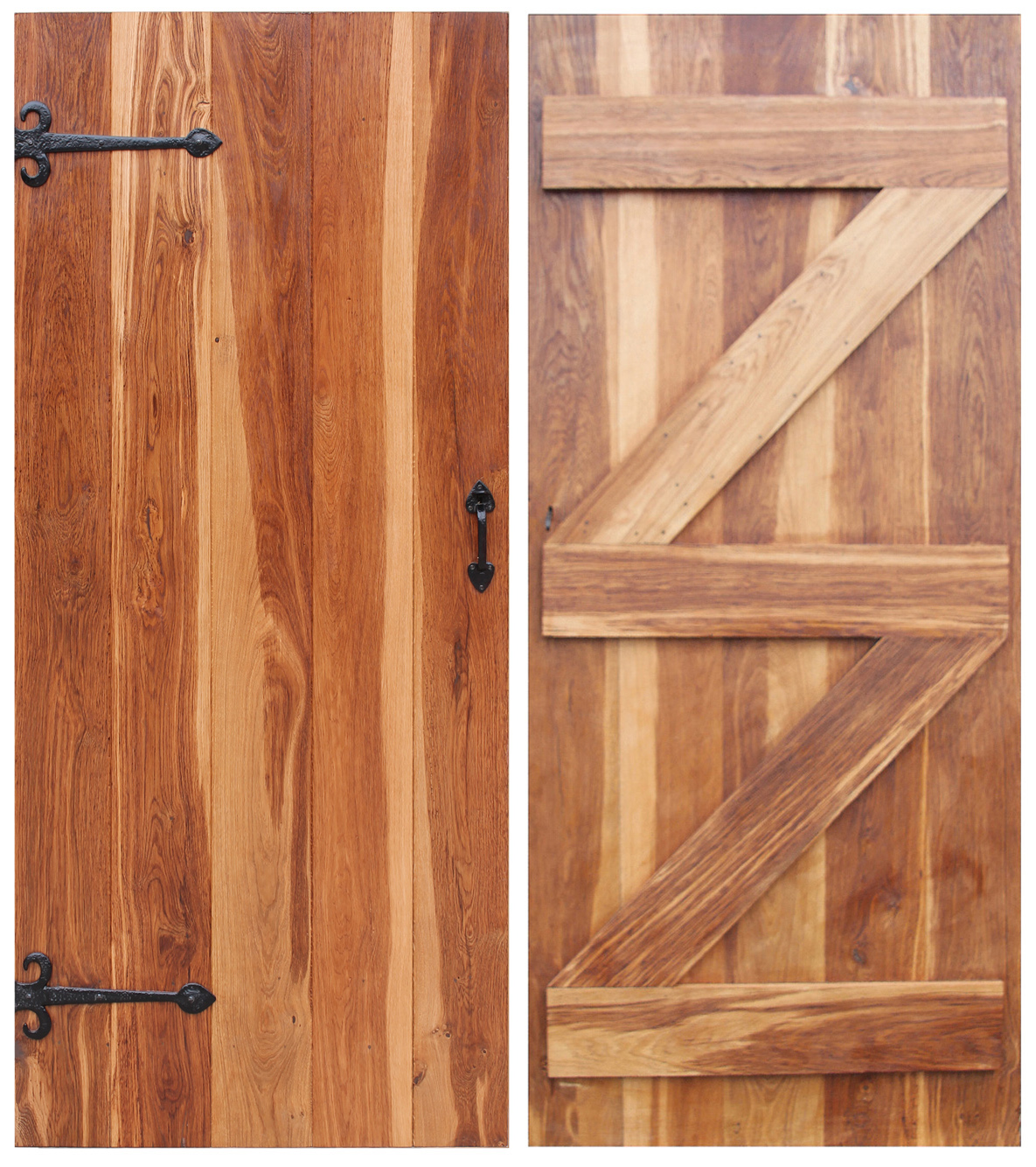 Oak Brace and Ledger Farmhouse Door Front and Back Large
